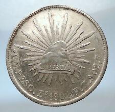 1901 MEXICO Large w Eagle Liberty Cap Mexican Antique Silver 1 Peso Coin i73842