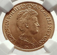 1917 NETHERLANDS Dutch Queen Wilhelmina Gold 10 Gulden Coin NGC MS 66 i71696