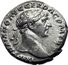 TRAJAN  105AD Rome Authentic Genuine Ancient Silver Roman Coin Victory i70341