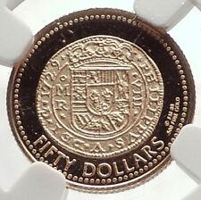 1988 British Virgin Islands GOLD $50 1729 Spansih Colonial Coin Desig NGC i71342