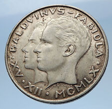 1960 BELGIUM King Baudouin I Marriage Queen Fabiola Silver 50 Francs Coin i69619