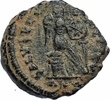 AELIA FLACILLA Theodosius I Wife 383AD Ancient Roman Coin VICTORY CHI-RHO i67316