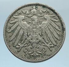 1902 J GERMANY 10 Pfennig Antique German Empire Coin of King WILHELM II i74315