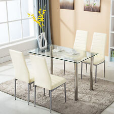 metal kitchen table sets samsung appliance package dining furniture ebay 5 piece set with 4 chairs glass room