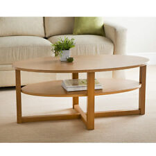 oak kitchen tables metal wall tiles for ebay wood finish oval shaped coffee table with under shelf