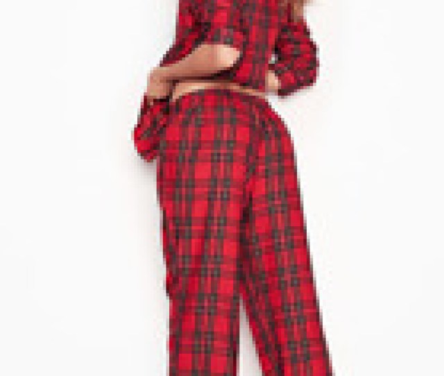 Victorias Secret Red Plaid Flannel Cozy Soft Pajama Set Relaxed Fit Small