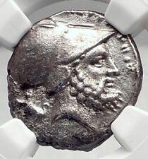 METAPONTION Metapontum in LUCANIA Silver 340BC Greek Coin w LEUKIPPOS NGC i72345