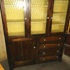 Yellow Pine Kitchen Cabinets Cost To Reface Antique 1900 1950 Ebay Cupboard With Amber Glass Doors