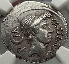 JULIUS CAESAR 44 BC Authentic Ancient Silver Roman Pedigreed Coin NGC Ch XF*