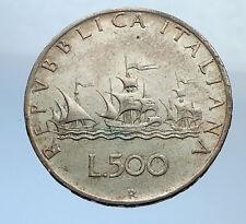 1959 ITALY - CHRISTOPHER COLUMBUS DISCOVER America SILVER Italian Coin i69872