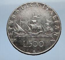 1961 ITALY - CHRISTOPHER COLUMBUS DISCOVER America SILVER Italian Coin i69350
