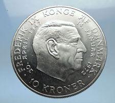 1972 DENMARK King Frederick IX & Queen Margrethe II Silver 10 Kroner Coin i68968