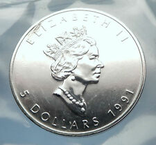 1991 CANADA Authentic Silver 1oz Coin UK Queen Elizabeth II & MAPLE LEAF i70906