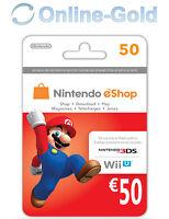 Nintendo Eshop CARD 50€ Carte de Jeu Console compatible 3DS/Wii U/Switch[NEUF]