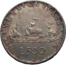 1958 ITALY - CHRISTOPHER COLUMBUS DISCOVER America SILVER Italian Coin i71983