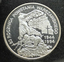 1994 POLAND WWII Warsaw Uprising 50th Resistance vs Germans Silver Coin i76311