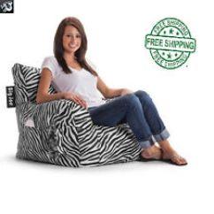 Zebra Print Bean Bag Chair Large Living Room Chairs Ebay Big Joe Dorm College Gameroom Sports Lounge