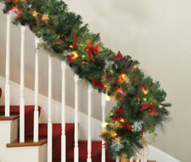 Ft Pre Lit Christmas Garland Fireplace Stairs Xmas Home Decorations Led Light