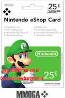 €25 Nintendo eShop Carte - 25 EUR 3DS Wii U Switch - Compte français - FR & EU