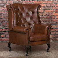 leather wingback chairs south africa ergonomic chair types handsome tufted armchair matching ottoman early 20th century danish brown wing back