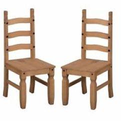 Rustic Dining Chairs Uk Ergonomic Chair Stokke Varier Thatsit Pine Ebay Corona Pair Of 2 Mexican Solid 3 Slat By Mercers Furniture