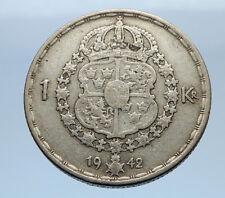 1942 SWEDEN King GUSTAV V ADOLF 1 Krona LARGE Silver SWEDISH Vintage Coin i69341