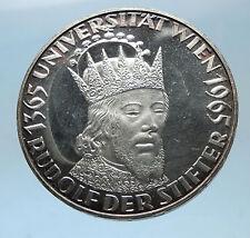 1965 AUSTRIA 600th of VIENNA UNIVERSITY Rudolf IV Der Stifter Silver Coin i68595