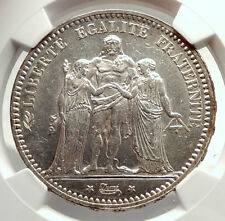 1873 FRANCE Big 3.7cm Antique Silver Coin  HERCULES & JUSTICE NGC MS 62 i71347