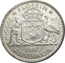 1962 AUSTRALIA - UK Queen Elizabeth II SILVER FLORIN Coat-of-Arms Coin i71948
