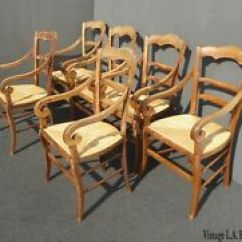 Vintage Oak Dining Chairs Directors Chair Covers Kmart Antique Ebay Six French Country Rustic W Rush Seats Rolled Armrests