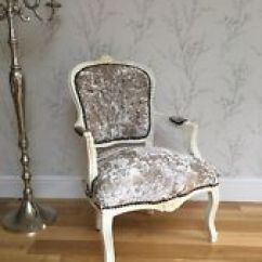 French Velvet Chair Metal Dining Chairs Crushed Louis Style Ebay Shabby Chic Cream Wooden Frame
