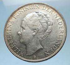 1939 Netherlands Kingdom Queen WILHELMINA 2 1/2 Gulden BIG Silver Coin i68572