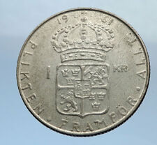 1961 Sweden GUSTAF VI Silver Krona Crowned ARMS Antique Vintage Coin i69866