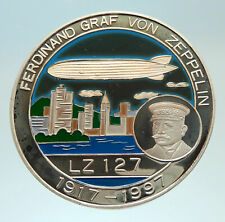 1997 CONGO Ferdinand von Zeppelin AVIATION Flight 1000 Francs Silver Coin i76809