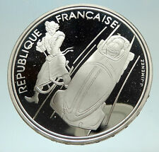1990 FRANCE Cross Country Skiing 1992 Olympics Proof Silver 100F Coin i76893