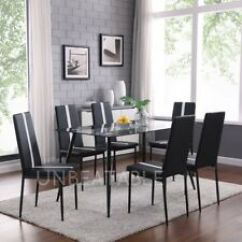 Black Kitchen Tables Glass Top Table And Dining Ebay Designer Set With 6 Faux Leather Chairs Metal Legs