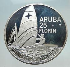 1992 ARUBA Netherlands Queen Beatrix Windsurfer Sail Olympics Silver Coin i74727