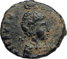 EUDOXIA Arcadius Wife 400AD Authentic Ancient Roman Coin GOD's HAND CROSS i67470