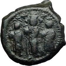 HERACLIUS w Son CONSTANTINE & MARTINA Ancient Byzantine Follis Coin i71017
