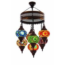 Turkish Authentic 7 Globe Mosaic Chandelier Lamp Moroccan Lantern Stained Glass