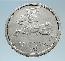 1936 LITHUANIA JONAS BASANAVICIUS Vintage Lithuanian Silver 5 Litai Coin i75297
