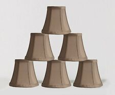 Urbanest Chandelier Mini Lamp Shades 5 Bell Silk Taupe W Double Trim Set Of 6