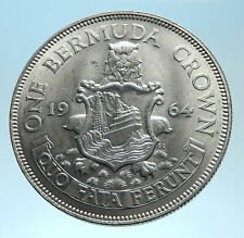 1964 Bermuda British Colony LARGE Elizabeth II Antique Silver Crown Coin i77457