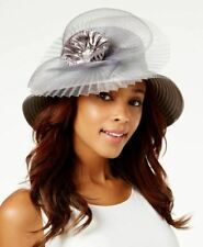 August Hats Women's Satin Stripe Wide Brim Dressy Church Hat, Gray