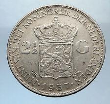 1937 Netherlands Queen WILHELMINA 2.5 Gulden Authentic DUTCH Silver Coin i71907