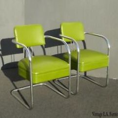 Lime Green Chairs For Sale Barcelona Chair Vinyl Antique Ebay Pair Of Vintage Mid Century Modern Chrome Accent