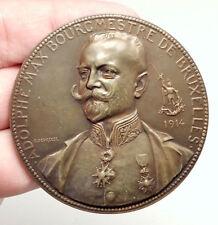 1914 BELGIUM Brussels Freemason MAYOR Adolphe Max Belgian Medal w ROOSTER i75109