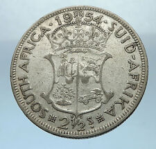 1954 SOUTH AFRICA UK Queen Elizabeth II LARGE 2 1/2 Shilling Silver Coin i68235
