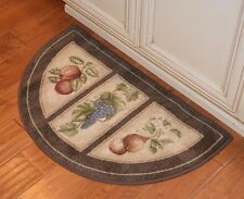 kitchen rugs and mats yellow table fruit ebay 19x32 slice wedge rug mat brown beige apples washable grapes pears