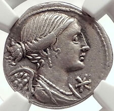 Roman Republic Authentic Ancient 108BC Rome Silver Coin VICTORY MARS NGC i69098